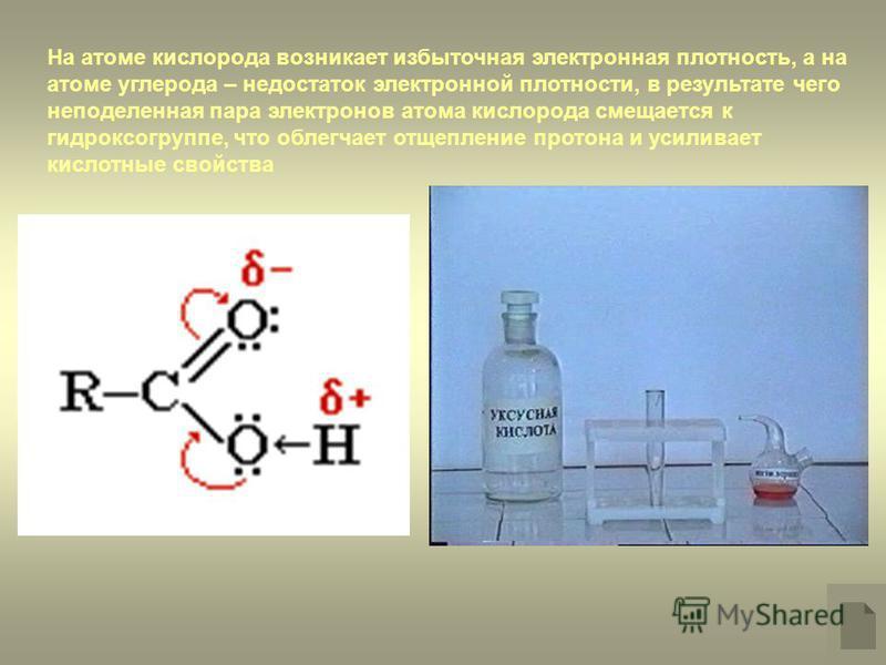 На атоме кислорода возникает избыточная электронная плотность, а на атоме углерода – недостаток электронной плотности, в результате чего неподеленная пара электронов атома кислорода смещается к гидроксигруппе, что облегчает отщепление протона и усили