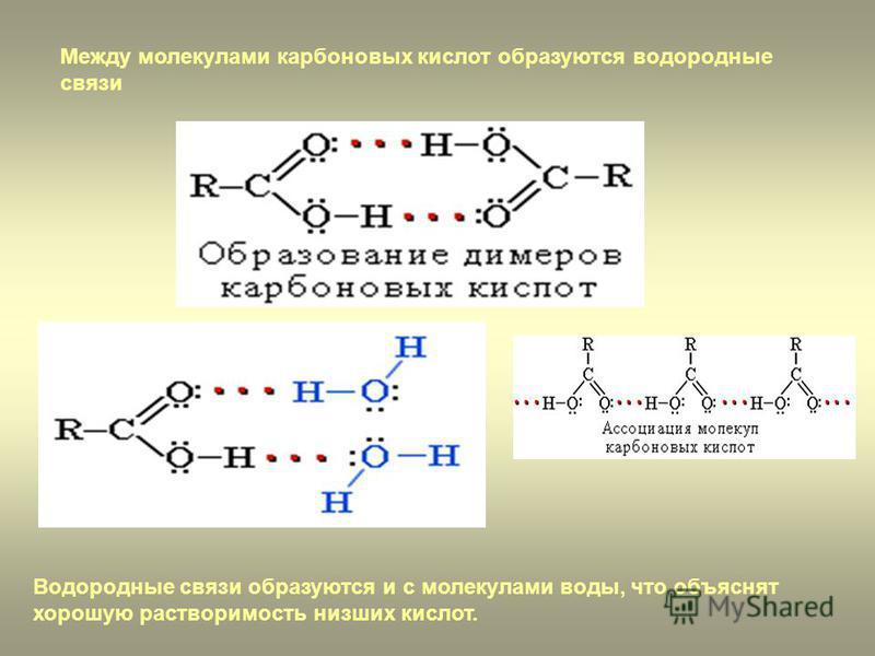 Между молекулами карбоновых кислот образуются водородные связи Водородные связи образуются и с молекулами воды, что объяснят хорошую растворимость низших кислот.