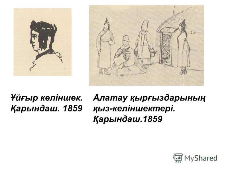 Ұйғыр келіншек. Қарындаш. 1859 Алатау қырғыздарының қыз-келіншектері. Қарындаш.1859