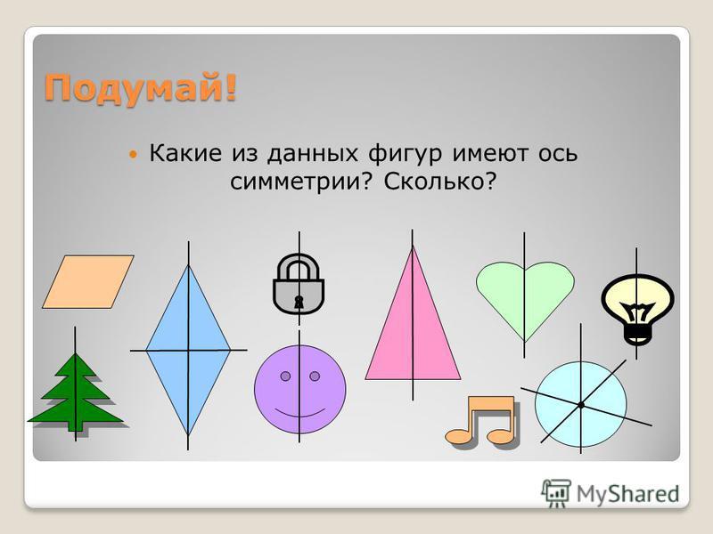 Подумай! Какие из данных фигур имеют ось симметрии? Сколько?