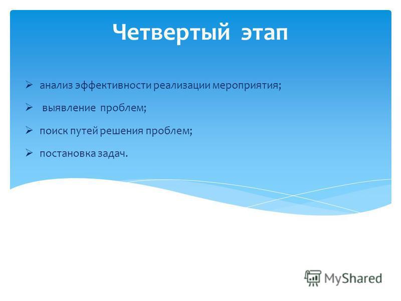 Четвертый этап анализ эффективности реализации мероприятия; выявление проблем; поиск путей решения проблем; постановка задач.