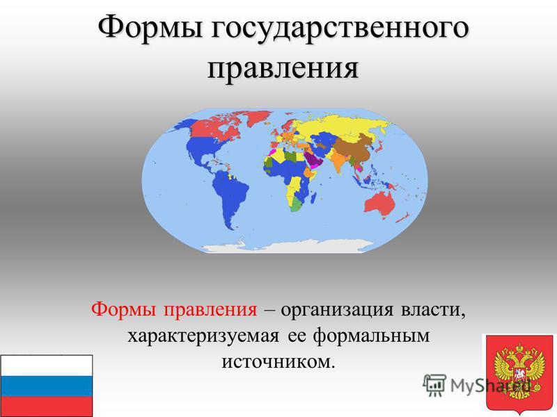 Формы государственного правления Формы правления – организация власти, характеризуемая ее формальным источником.