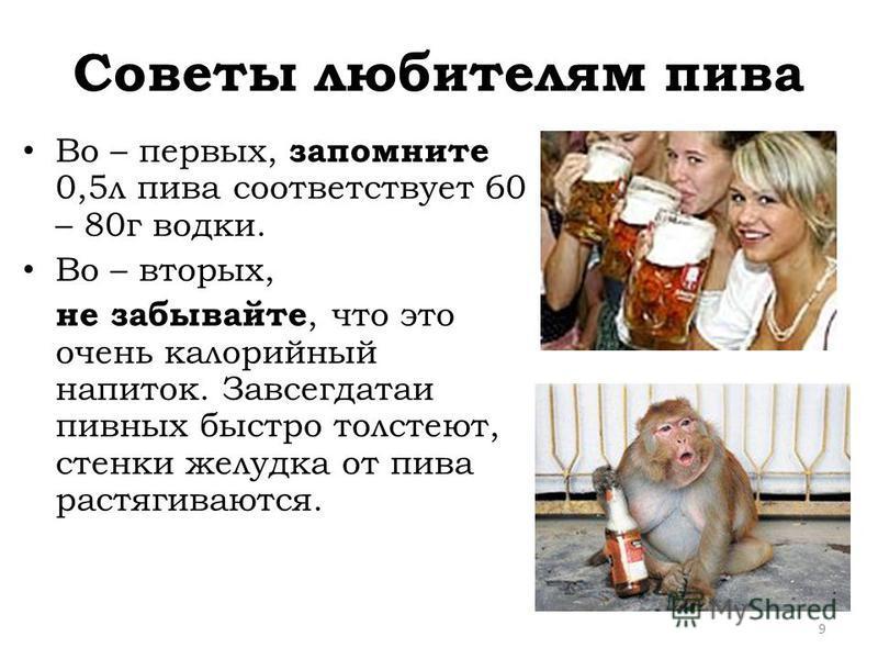 Советы любителям пива Во – первых, запомните 0,5 л пива соответствует 60 – 80 г водки. Во – вторых, не забывайте, что это очень калорийный напиток. Завсегдатаи пивных быстро толстеют, стенки желудка от пива растягиваются. 9