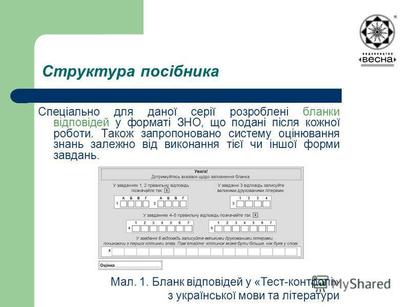Структура посібника Спеціально для даної серії розроблені бланки відповідей у форматі ЗНО, що подані після кожної роботи. Також запропоновано систему оцінювання знань залежно від виконання тієї чи іншої форми завдань. Мал. 1. Бланк відповідей у «Тест