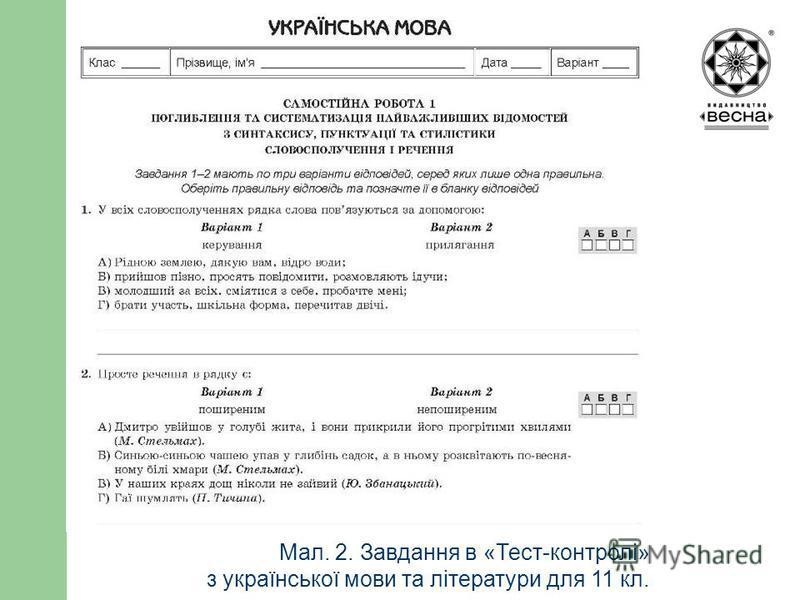 Структура посібника Мал. 2. Завдання в «Тест-контролі» з української мови та літератури для 11 кл.