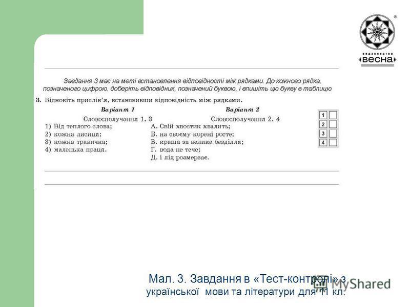 Структура посібника Мал. 3. Завдання в «Тест-контролі» з української мови та літератури для 11 кл.