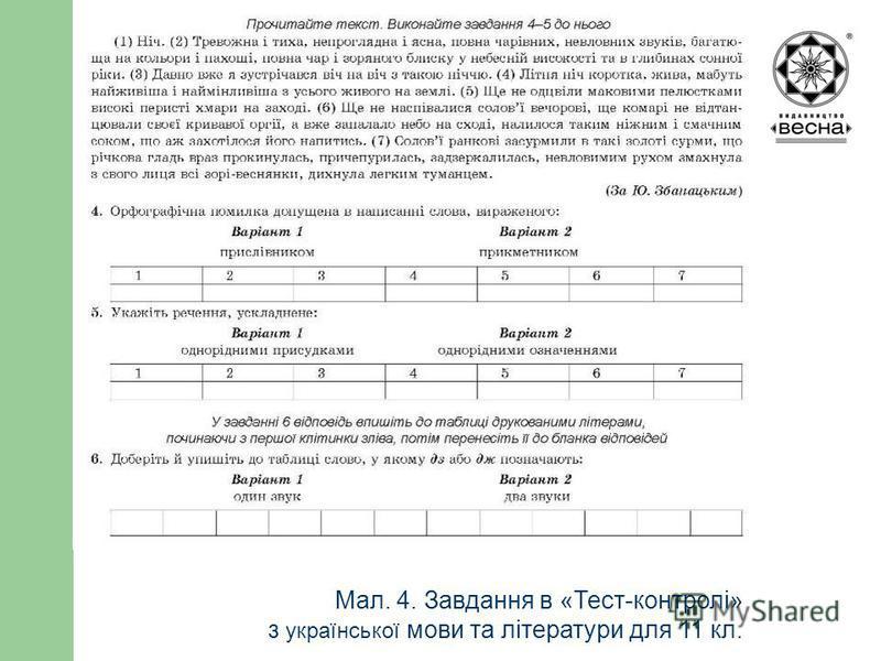 Структура посібника Мал. 4. Завдання в «Тест-контролі» з української мови та літератури для 11 кл.