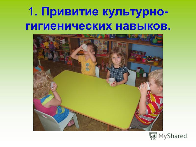 1. Привитие культурно- гигиенических навыков.