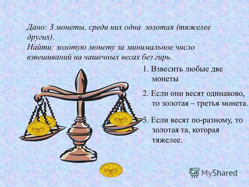 1. Взвесить любые две монеты 2. Если они весят одинаково, то золотая – третья монета. 3. Если весят по-разному, то золотая та, которая тяжелее.