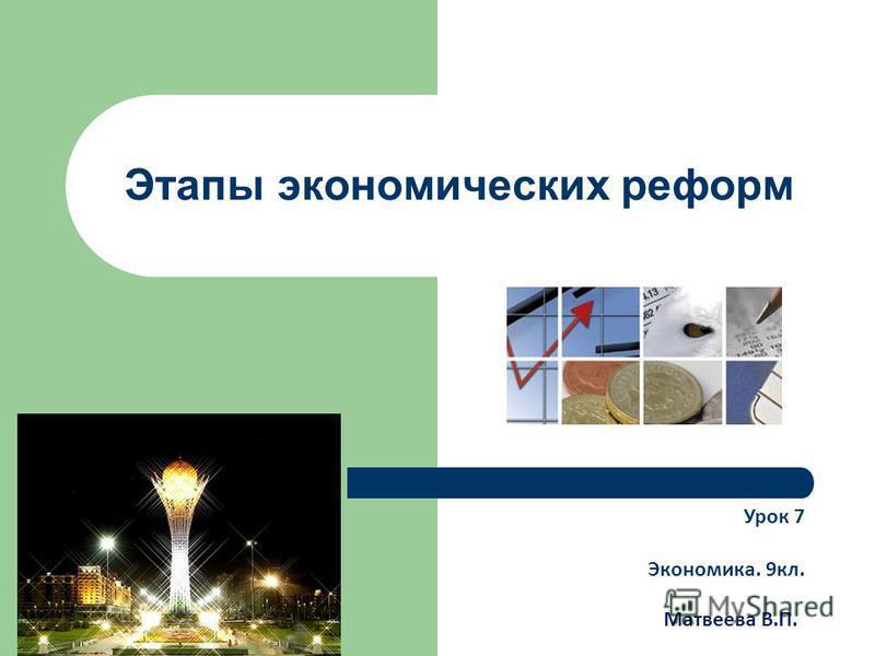 Этапы экономических реформ Урок 7 Экономика. 9 кл. Матвеева В.П.