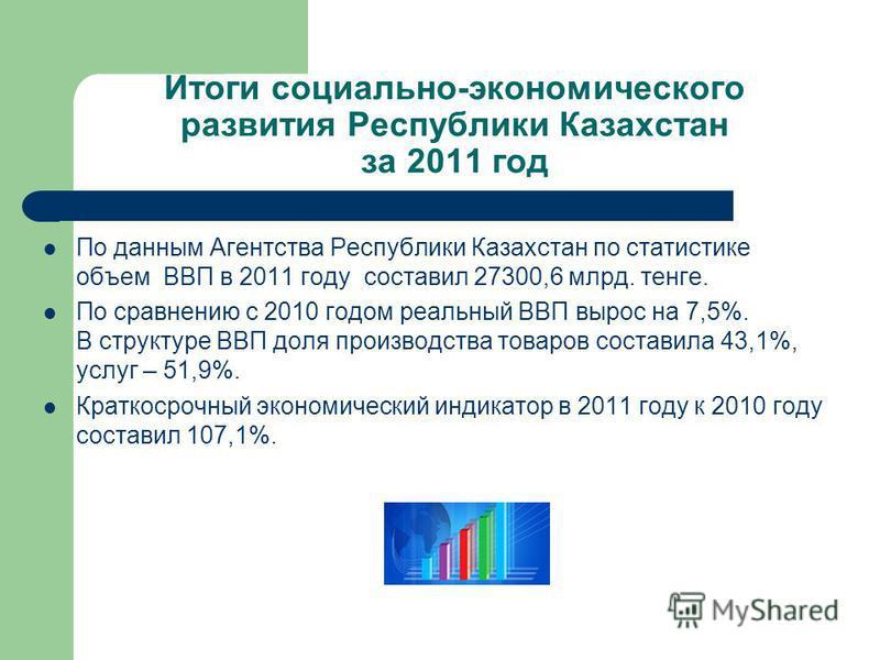 Итоги социально-экономического развития Республики Казахстан за 2011 год По данным Агентства Республики Казахстан по статистике объем ВВП в 2011 году составил 27300,6 млрд. тенге. По сравнению с 2010 годом реальный ВВП вырос на 7,5%. В структуре ВВП