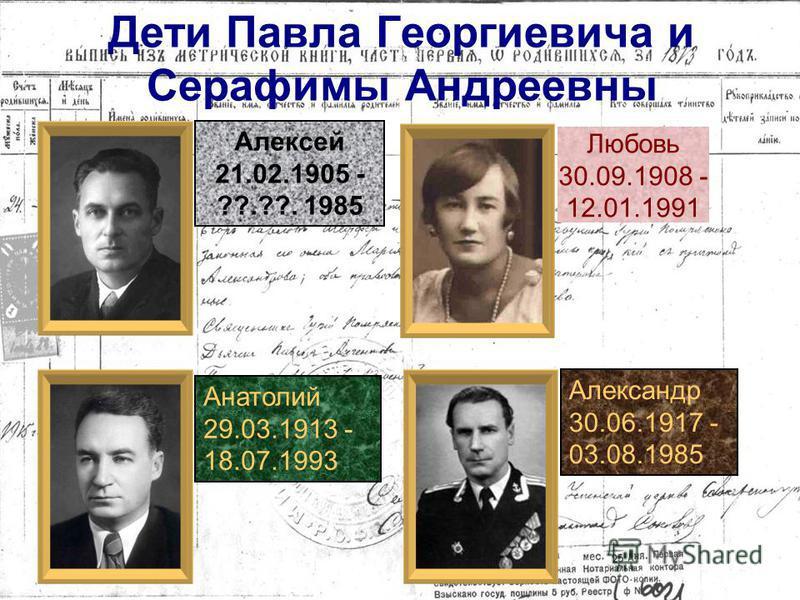 Дети Егора Карловича и Марии Александровны Анна Павел 15.02.1873 - 01.10.1920
