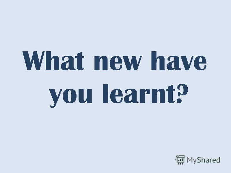 What new have you learnt?