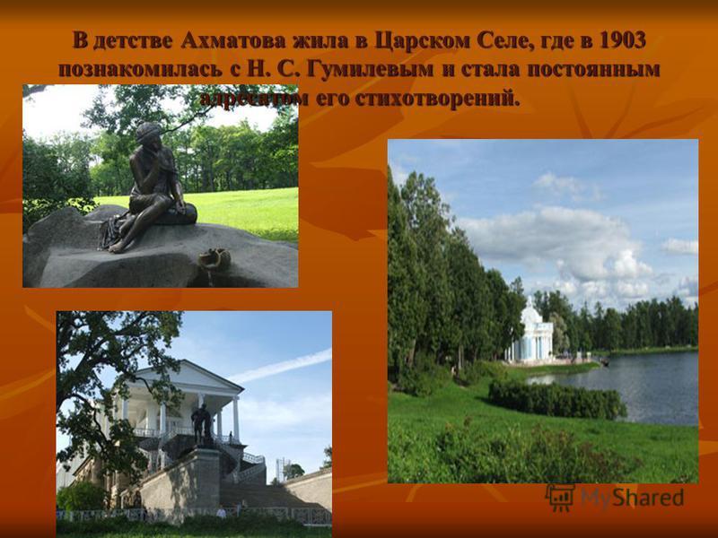 В детстве Ахматова жила в Царском Селе, где в 1903 познакомилась с Н. С. Гумилевым и стала постоянным адресатом его стихотворений.