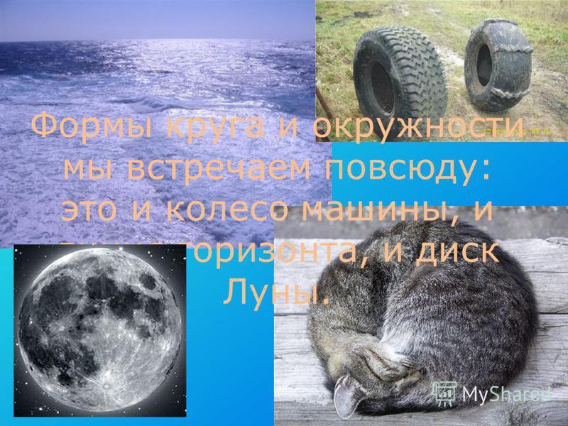 Формы круга и окружности мы встречаем повсюду: это и колесо машины, и линия горизонта, и диск Луны.