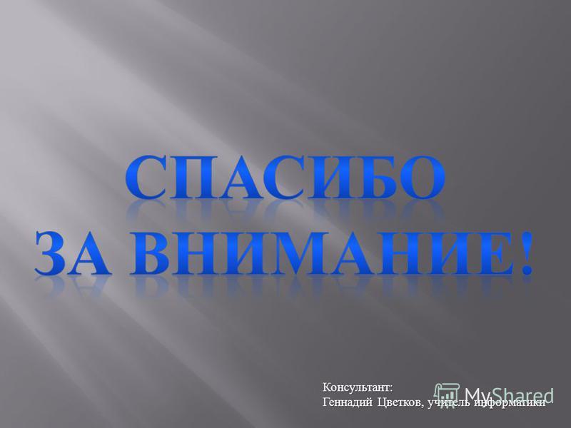 Консультант : Геннадий Цветков, учитель информатики