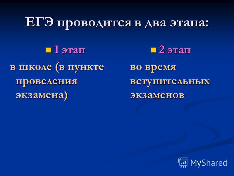 ЕГЭ проводится в два этапа: 1 этап 1 этап в школе (в пункте проведения экзамена) в школе (в пункте проведения экзамена) 2 этап во время вступительных экзаменов
