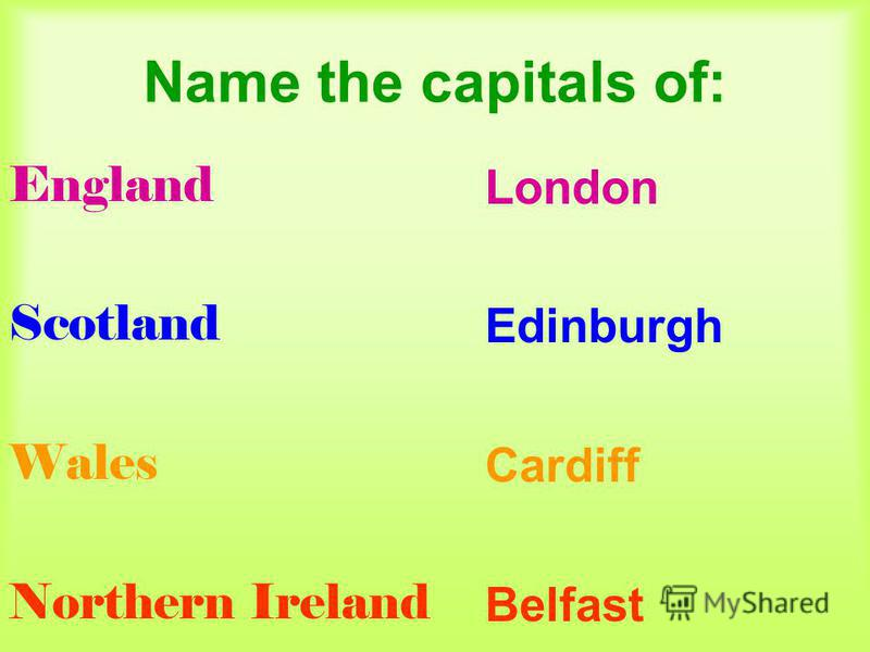 Name the capitals of: England Scotland Wales Northern Ireland London Edinburgh Cardiff Belfast