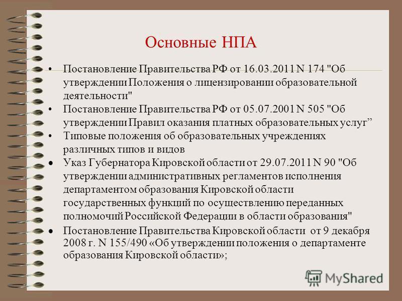 Основные НПА Постановление Правительства РФ от 16.03.2011 N 174