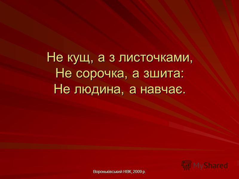 Вороньківський НВК, 2009 р. Не кущ, а з листочками, Не сорочка, а зшита: Не людина, а навчає.