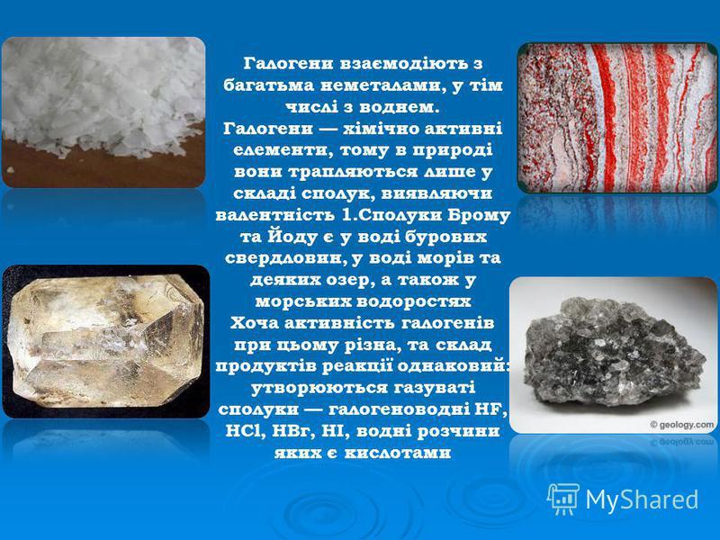 Галогени взаємодіють з багатьма неметалами, у тім числі з воднем. Галогени хімічно активні елементи, тому в природі вони трапляються лише у складі сполук, виявляючи валентність 1.Сполуки Брому та Йоду є у воді бурових свердловин, у воді морів та деяк