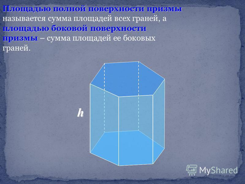Площадью полной поверхности призмы площадью боковой поверхности призмы Площадью полной поверхности призмы называется сумма площадей всех граней, а площадью боковой поверхности призмы – сумма площадей ее боковых граней. h