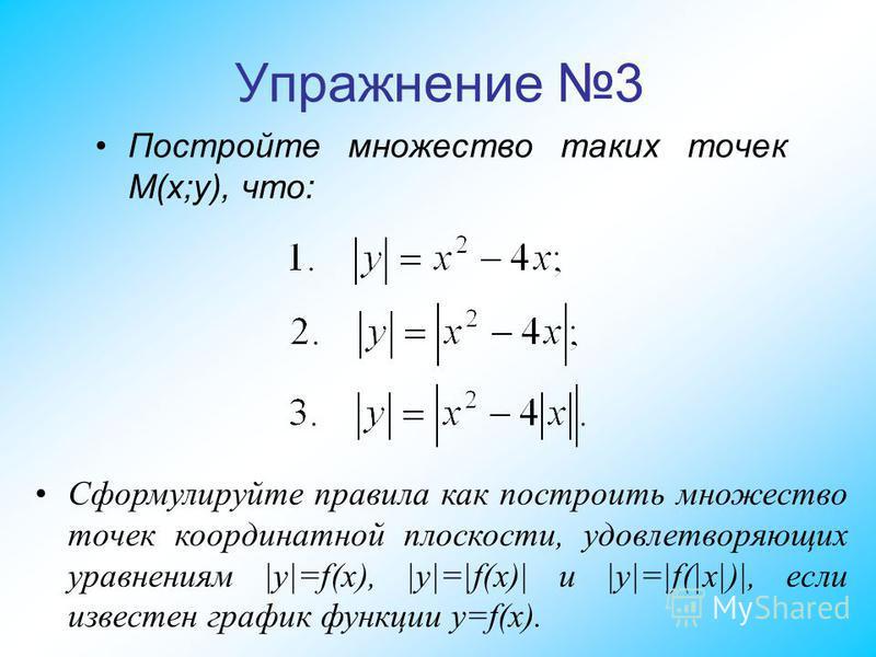 Упражнение 3 Постройте множество таких точек M(x;y), что: Сформулируйте правила как построить множество точек координатной плоскости, удовлетворяющих уравнениям |y|=f(x), |y|=|f(x)| и |y|=|f(|x|)|, если известен график функции y=f(x).