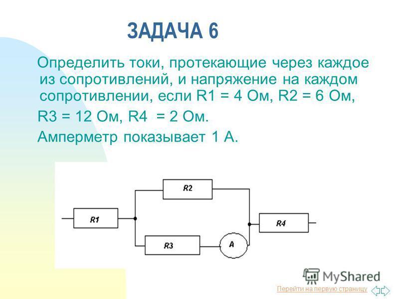 Перейти на первую страницу ЗАДАЧА 6 Определить токи, протекающие через каждое из сопротивлений, и напряжение на каждом сопротивлении, если R1 = 4 Ом, R2 = 6 Ом, R3 = 12 Ом, R4 = 2 Ом. Амперметр показывает 1 А.