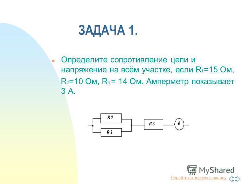 Перейти на первую страницу ЗАДАЧА 1. n Определите сопротивление цепи и напряжение на всём участке, если R 1 =15 Ом, R 2 =10 Ом, R 3 = 14 Ом. Амперметр показывает 3 А.