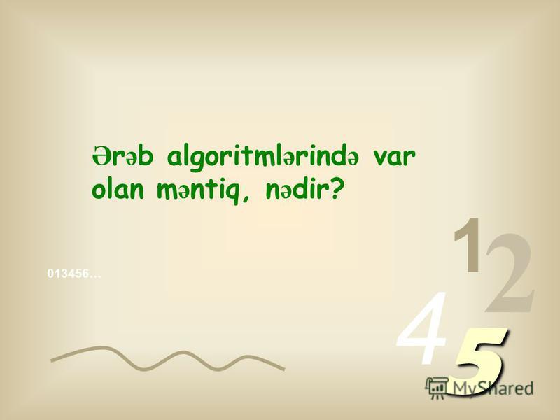 013456… 1 2 4 5 Heç özünüz ə niy ə 1 birdir, 2 ikidir, ya da 3 üçdür dey ə sual verdinizmi?