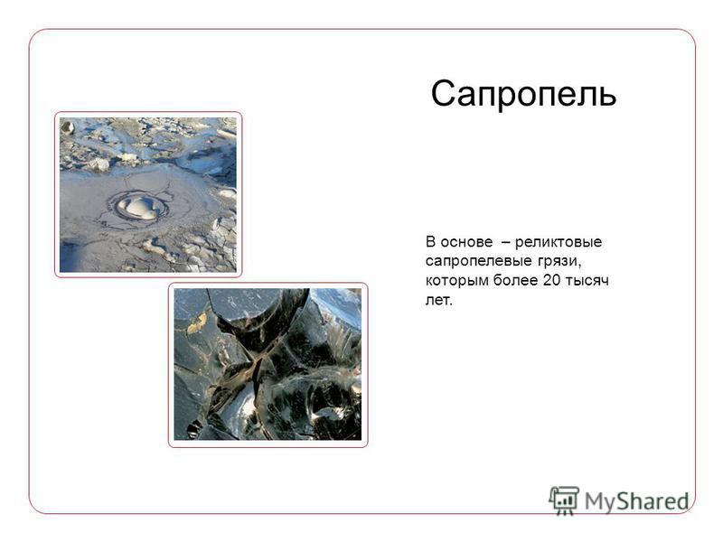В основе – реликтовые сапропелевые грязи, которым более 20 тысяч лет.