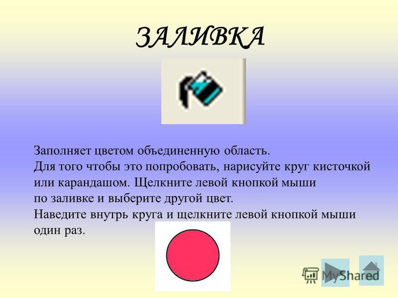 ЗАЛИВКА Заполняет цветом объединенную область. Для того чтобы это попробовать, нарисуйте круг кисточкой или карандашом. Щелкните левой кнопкой мыши по заливке и выберите другой цвет. Наведите внутрь круга и щелкните левой кнопкой мыши один раз.