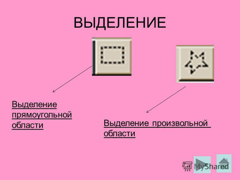 ВЫДЕЛЕНИЕ Выделение прямоугольной области Выделение произвольной области