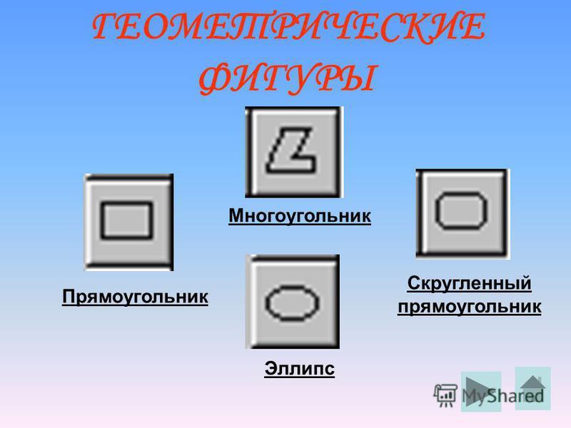 ГЕОМЕТРИЧЕСКИЕ ФИГУРЫ Многоугольник Прямоугольник Эллипс Скругленный прямоугольник