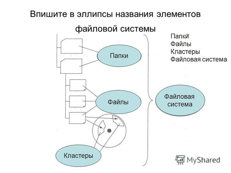 Впишите в эллипсы названия элементов файловой системы Папки Файлы Кластеры Файловая система Папки Файлы Кластеры Файловая система