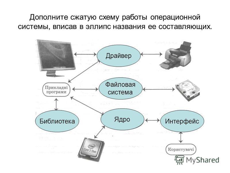 Дополните сжатую схему работы операционной системы, вписав в эллипс названия ее составляющих. Драйвер Файловая система Интерфейс Ядро Библиотека