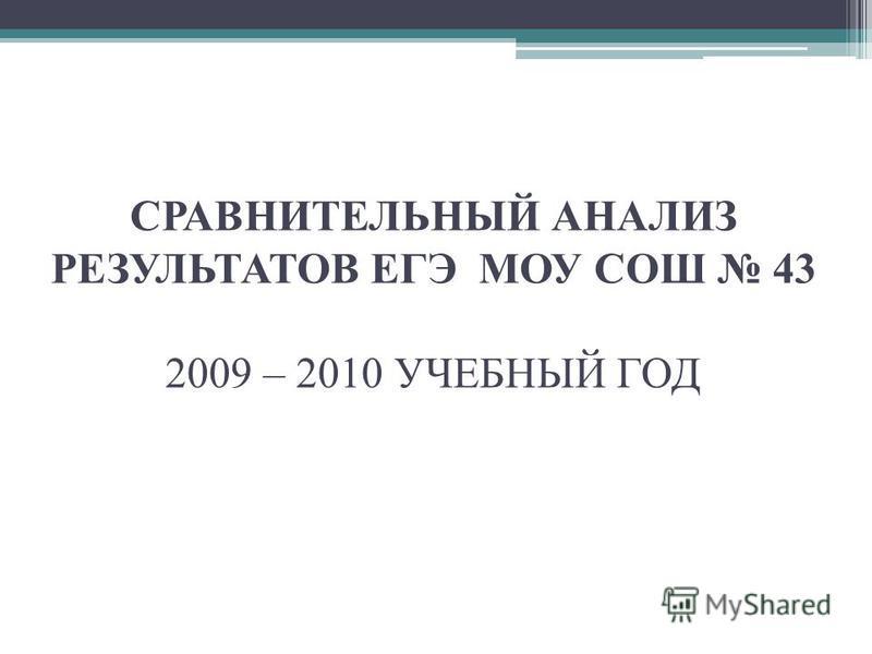 СРАВНИТЕЛЬНЫЙ АНАЛИЗ РЕЗУЛЬТАТОВ ЕГЭ МОУ СОШ 43 2009 – 2010 УЧЕБНЫЙ ГОД