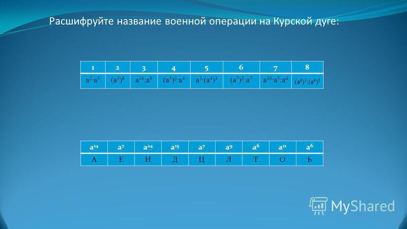 Расшифруйте название военной операции на Курской дуге: 12345678 a2a5a2a5 (a 3 ) 8 a 14 :a 8 (a 5 ) 2 a 4 a 3 (a 4 ) 3 (a 7 ) 2 :a 7 a 10 a 3 :a 4 (a 6 ) 3 :(a 4 ) 3 a 14 a7a7 a 24 a 15 a7a7 a9a9 a6a6 a 11 a6a6 АЕИДЦЛТОЬ