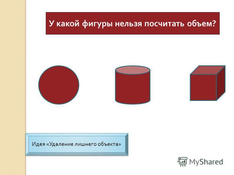 У какой фигуры нельзя посчитать объем ? Идея « Удаление лишнего объекта » Идея « Удаление лишнего объекта »