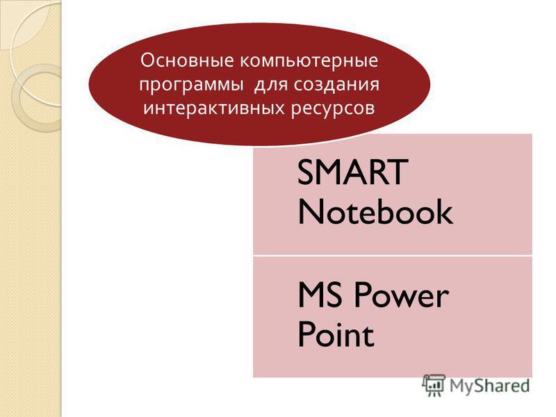 SMART Notebook MS Power Point Основные компьютерные программы для создания интерактивных ресурсов