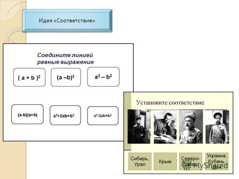 Идея « Соответствие » Идея « Соответствие »
