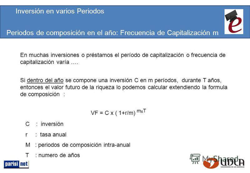 Periodos de composición en el año: Frecuencia de Capitalización m Si dentro del año se compone una inversión C en m períodos, durante T años, entonces el valor futuro de la riqueza lo podemos calcular extendiendo la formula de composición : VF = C x