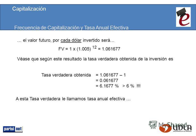 Frecuencia de Capitalización y Tasa Anual Efectiva FV = 1 x (1.005) 12 = 1.061677 … el valor futuro, por cada dólar invertido será… Véase que según este resultado la tasa verdadera obtenida de la inversión es Tasa verdadera obtenida = 1.061677 – 1 =