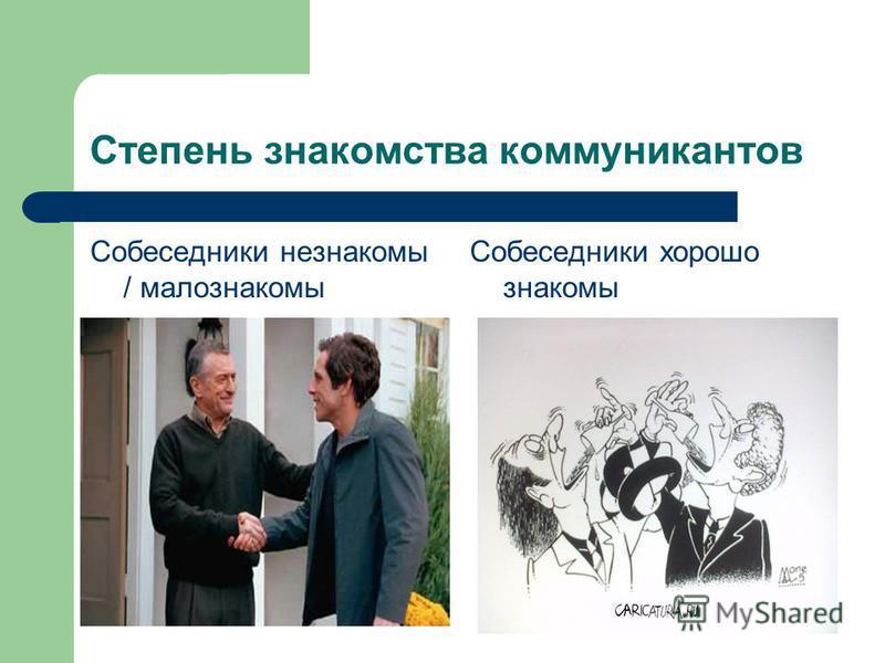 Степень знакомства коммуникантов Собеседники незнакомы / малознакомы Собеседники хорошо знакомы