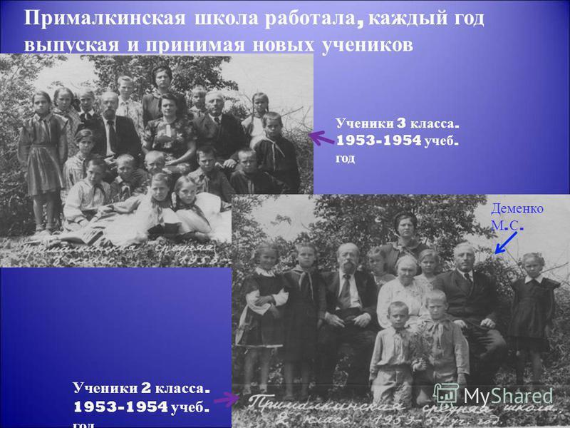 Прималкинская школа работала, каждый год выпуская и принимая новых учеников Ученики 2 класса. 1953-1954 учеб. год Ученики 3 класса. 1953-1954 учеб. год Деменко М. С.