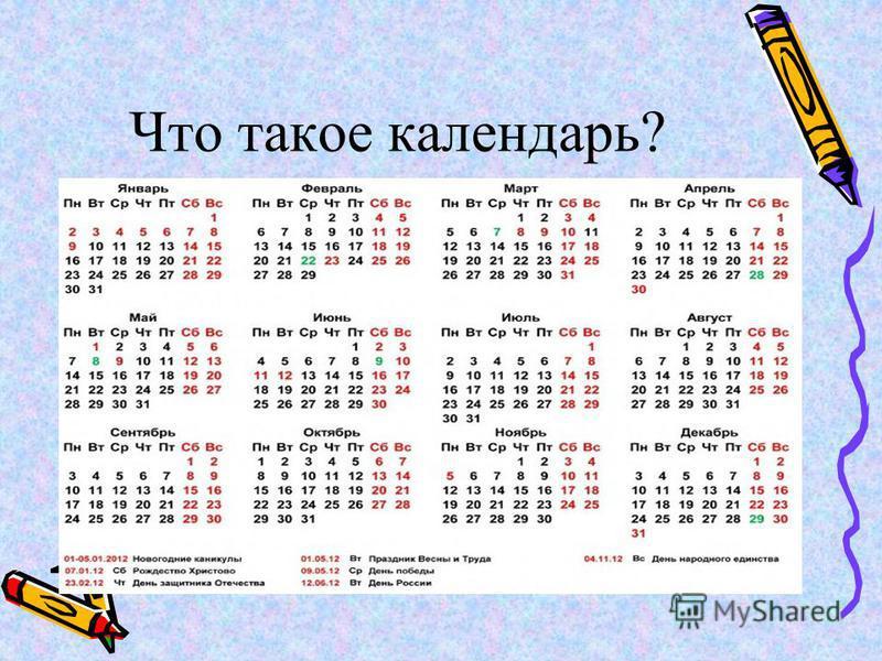 Гипотеза. Календарь – это таблица счёта времени.