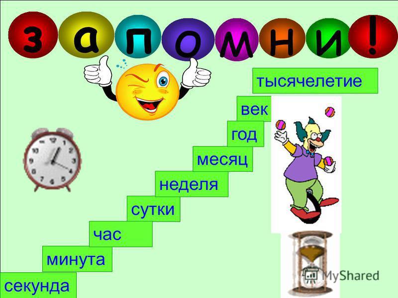 Выбери единицы измерения времени в порядке возрастания. век секунда минута сутки неделя месяц год час тысячелетие