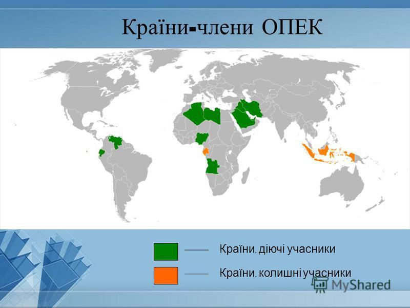 Країни - члени ОПЕК Країни, діючі учасники Країни, колишні учасники