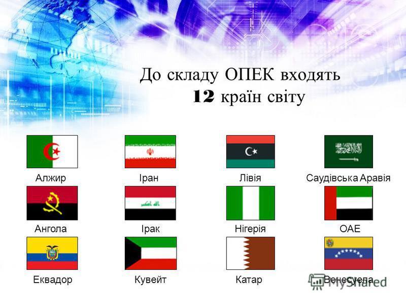 До складу ОПЕК входять 12 країн світу АлжирАнголаЕквадорІранІракКувейтЛівіяНігеріяКатарОАЕВенесуела Саудівська Аравія