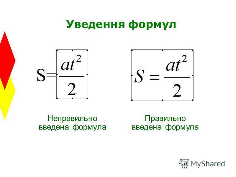 Уведення формул Неправильно введена формула Правильно введена формула